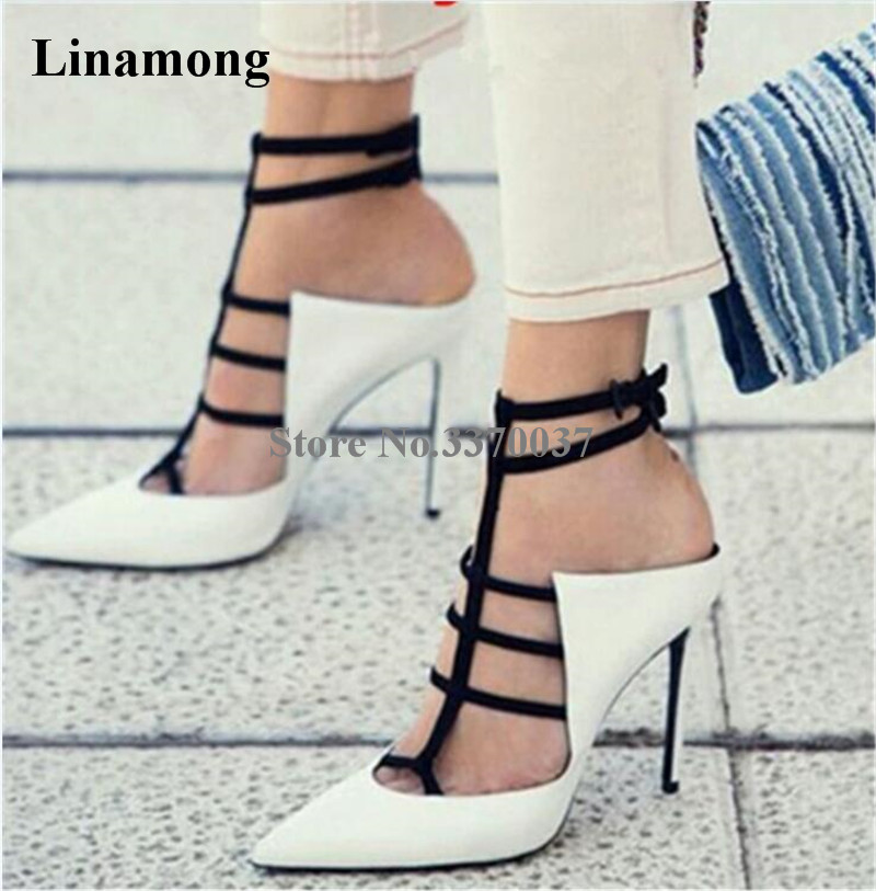 Women New Fashion Pointed Toe White Suede Leather Pumps Strap Cross Slingback High Heels Formal Dress Shoes Super Thin Heel Shoe цена