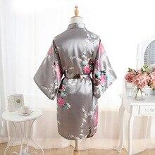 Women Satin Short Nightgown Kimono Robe New Gray Bathrobe Floral Pajamas Wedding Bride Bridesmaid Sexy Dress Gown One Size