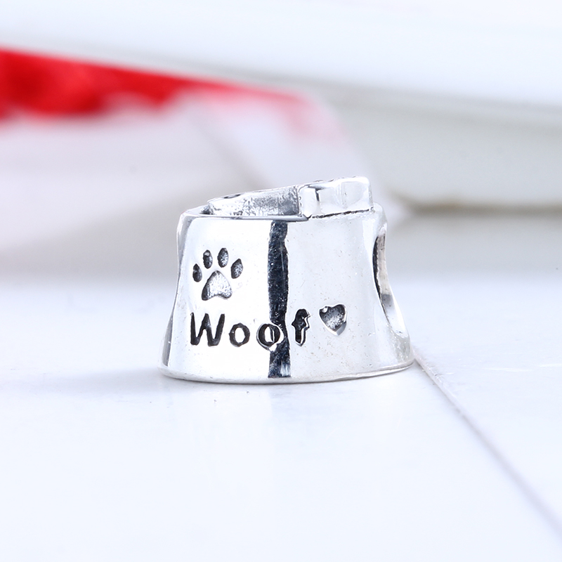 Authentic 100% 925 Sterling Silver Fit Original Pandora Bracelet Dog Bowl Charms DIY Charm Beads for Jewelry Making