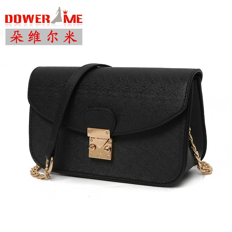 Fashion mini leather bag women small flap candy color shoulder bag womens chain crossbody bag Black