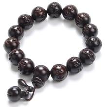 Lightning Wood Buddhism Prayer Beads font b Bracelets b font Om Mani Padme Hum Mantra font