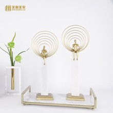 Modern creative Marble copper character statue home decor crafts room decoration objects office study metal girls figurines gift