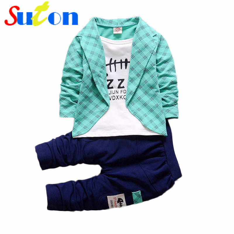 Spring Autumn Baby Boys Girls Clothing Sets Fashion Suits Boys Blazer+Pants 2pcs/sets casual Children Infant Clothing 1-4Y 2016 baby boy sets new style autumn spring baby clothing sets 2pc suits red plaid dark blue blazer infant set boys suits blazers