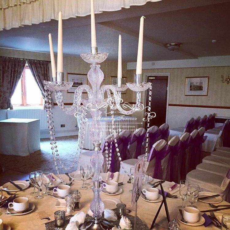 Décoration de mariage cristal pièce maîtresse de mariage 90 Cm de haut 5-bras candélabres acrylique bougeoirs anniversaire cérémonie faveurs