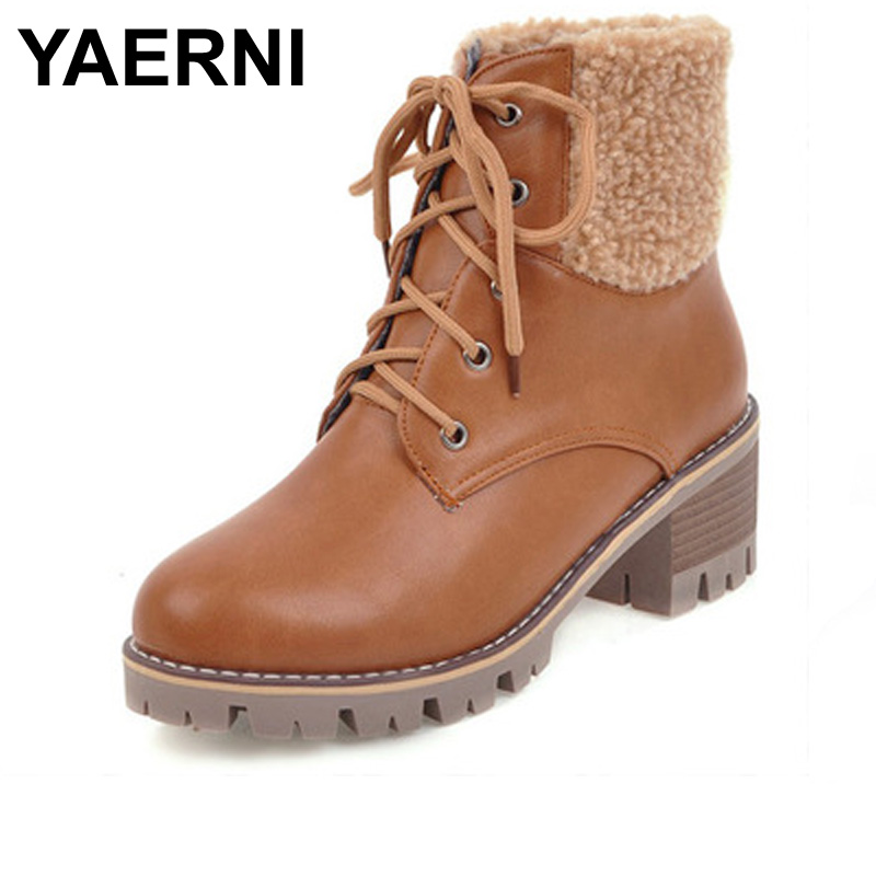 YAERNI Bige Size (34-43) Female boots 2017 New Winter British style lace-up chunky heels Fashion round Toe Martin boots