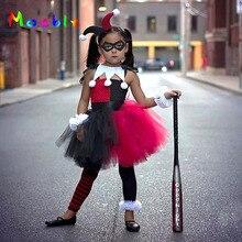 Superhero Inspired Red Black Harley Quinn Baby Tutu Dress Girls Party Dresses Holiday Clothing Christmas Costume Vestidos