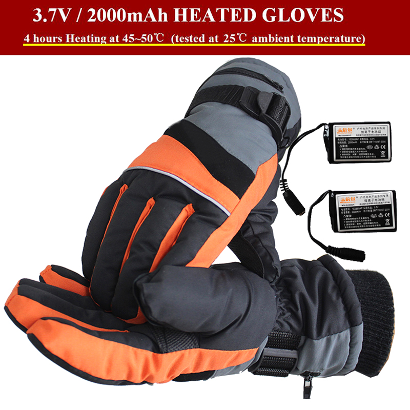 3.7V Outdoor Sports Fun Electric Heated Gloves Windstopper Waterproof Ski Cycling Winter Warm Riding Motorcycle Bicycle Gloves