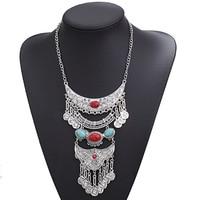 Хит продаж, многослойное колье с бахромой в стиле ретро, старинное этническое серебряное ожерелье с подвеской для женщин, ювелирные изделия