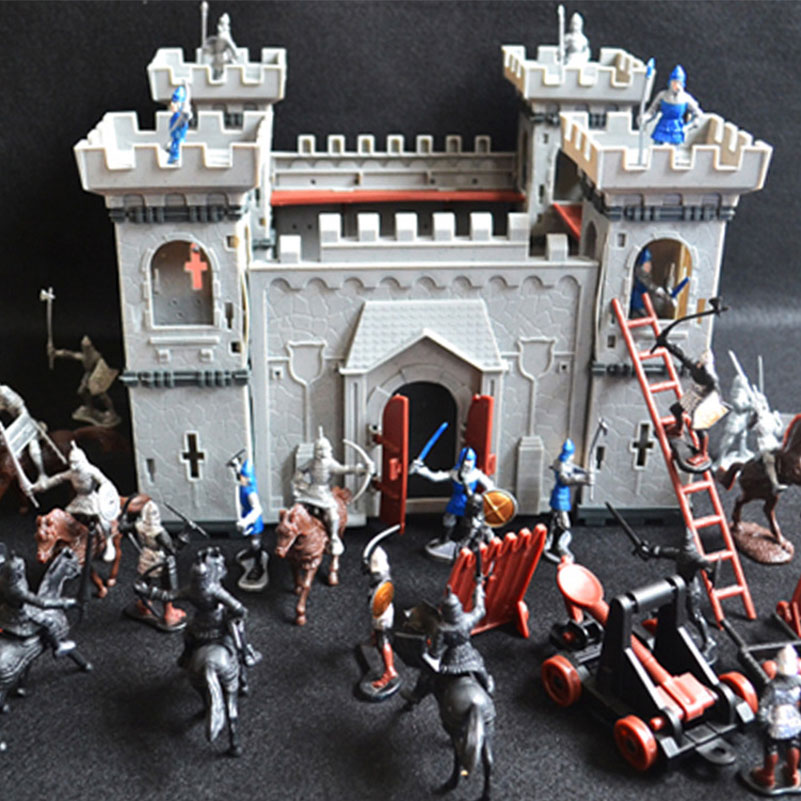 DIY Castle Model Military Doll House Toy With Miniature Soldier Cavalry Siege Vehicle Dollhouse Accessories Toys For Boy Gifts