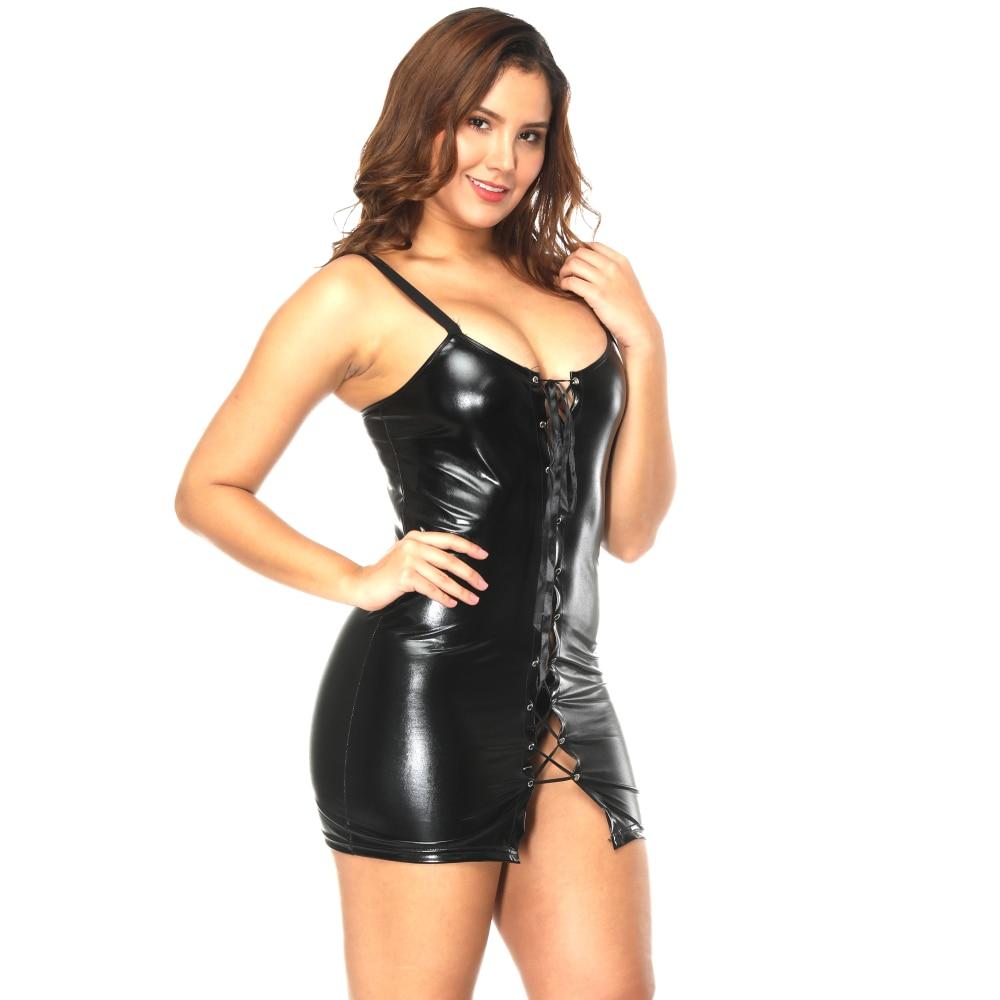 sintética sexy mini piel de Abbille vestido vestido negro Bondage dXwZHqq