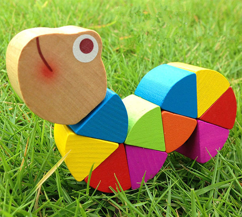 Baby Toys Multicolour Amazing Caterpillar Crooked Worm Wooden Toys Animal Doll Toys Child Educational Birthday Gift