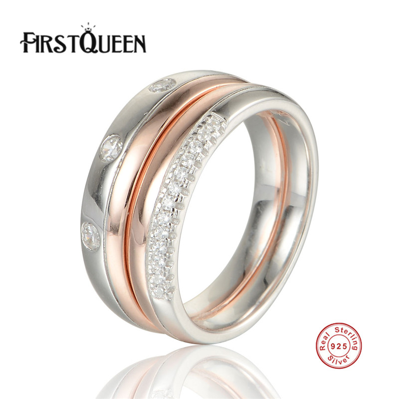 FirstQueen 925 Sterling Silver Stackable Heart Nature Stone Ring for Women Clear CZ Authentic Silver Jewelry new authentic 925 sterling silver evil eye luxury women fashion cz blue stone silver necklace