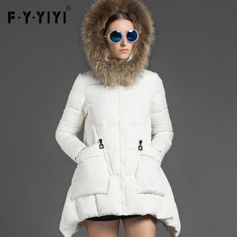 female  true raccoon fur collar white duck down long down jacket in large size Europe type loose cloak female winter overcoat skinnwille 2017 new products down jacket in winter more female in long white duck down even the chinstrap collars winter