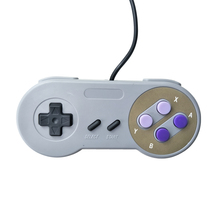 Computer host controller for SNES system console wired game handle purple color two buttons