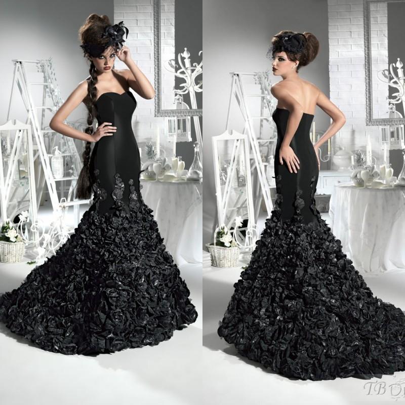 Custom Made 2017 Gorgeous Black Mermaid Wedding Dresses