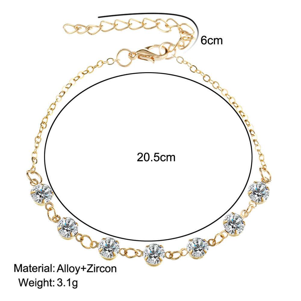 Vintage Moda Kristal Halhal Kadınlar Link Çene Bohemian Altın Gümüş Renk Ayakkabı Çizme Zinciri Bilezik ayak takısı 2018 yeni