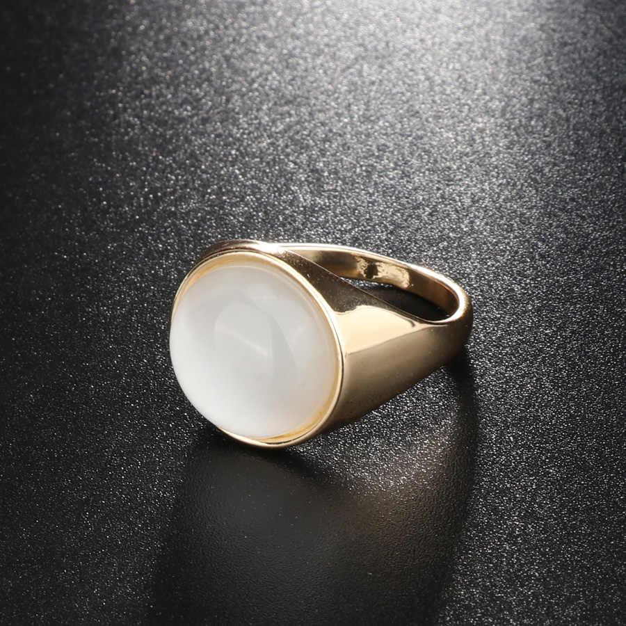 2018 ファッションラウンドホワイトオパール石リングゴールドカラー婚約結婚指輪女性ミニマリストブルガリアジュエリー