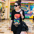 2016 Fashion New Casual Medium-Long Female Thick Velvet Print Bottoming Tops Winter O-Neck Women Cotton T-Shirts WY365