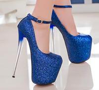 Haute Talons Femmes Pompes Bout Pointu En Cuir Glitter Femmes Chaussures De Mariage 19 cm Mince Talons Bleu Rose Robe Femmes Plate-Forme pompes