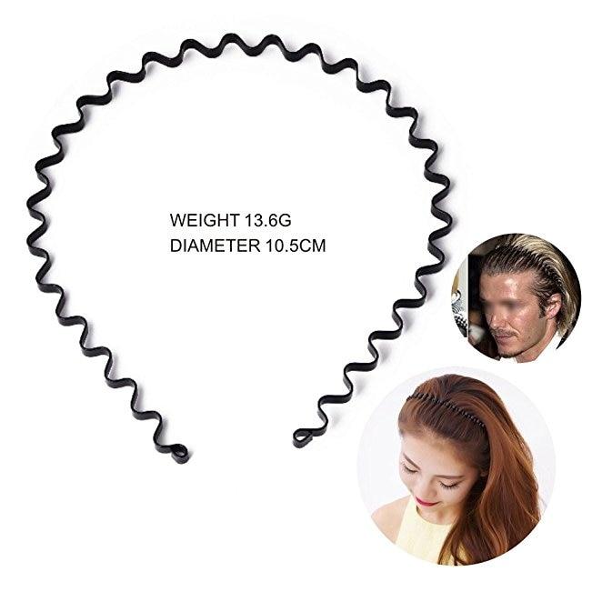 10pcs Unisex Black Spring Wavy Metal Hair Hoop Band Men Women Sports Headband Headware Accessories