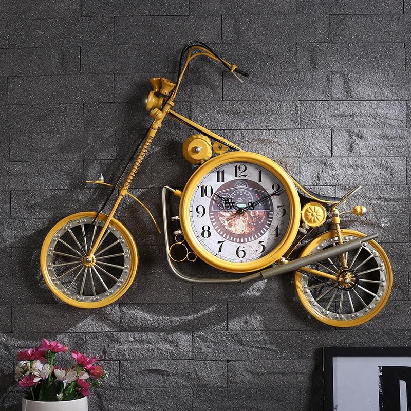 Meijswxj Large Wall Clock Saat Reloj Creative Motorcycle Wall Clock Living Room Retro Iron Bicycle Digital Clocks 71x57x4.5cm