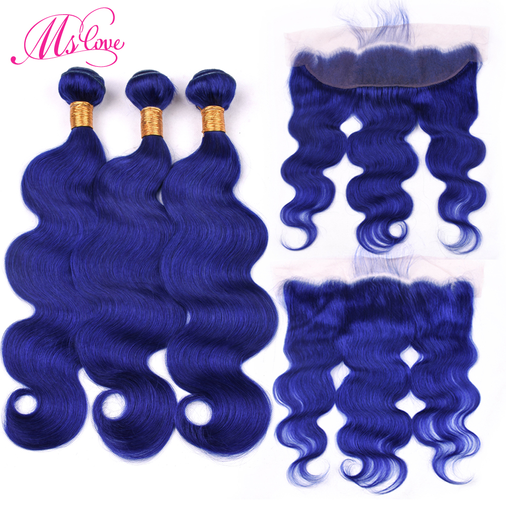 Pre Colored Blue Bundles With Frontal Body Wave Human Hair Bundles With Closure 13x4 Plucked Lace