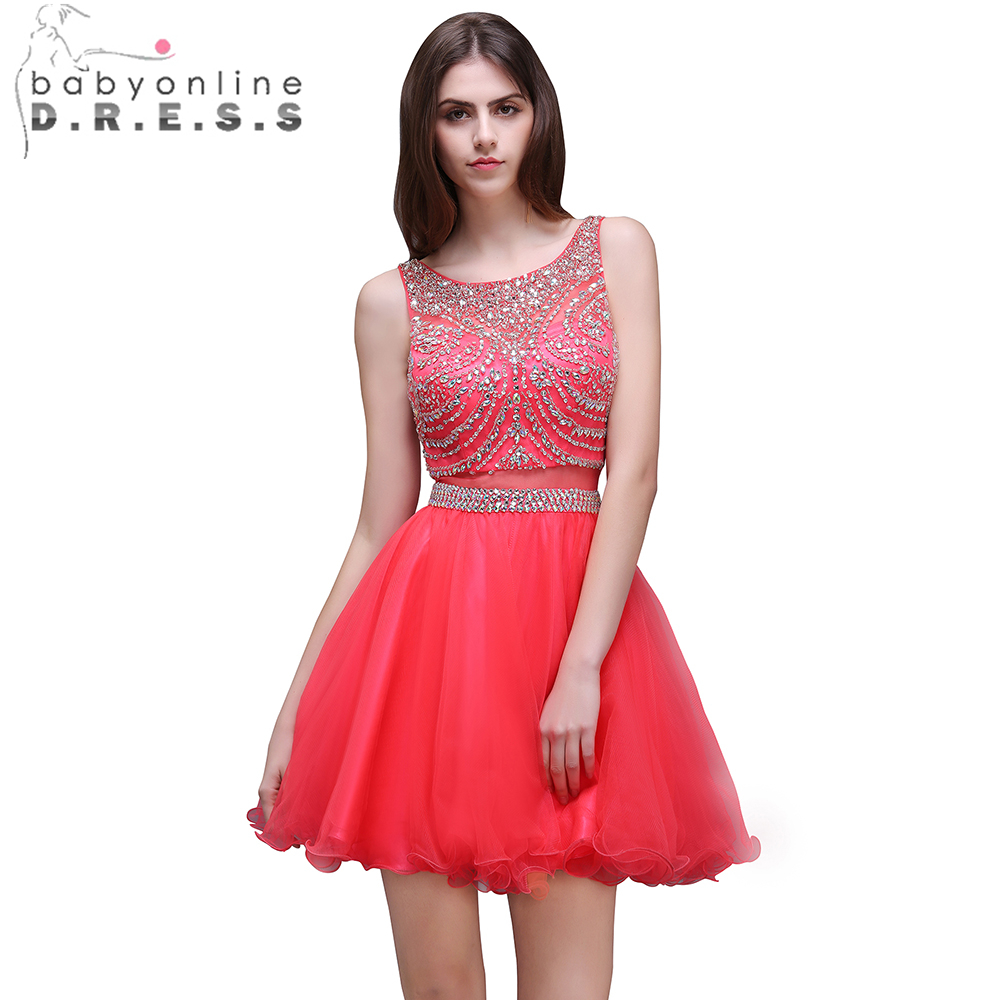 Babyonline Red Color Heavy Beaded Crystal Short Prom Dresses 2019 Sexy Backless Party Dresses Tulle Dress For Graduation