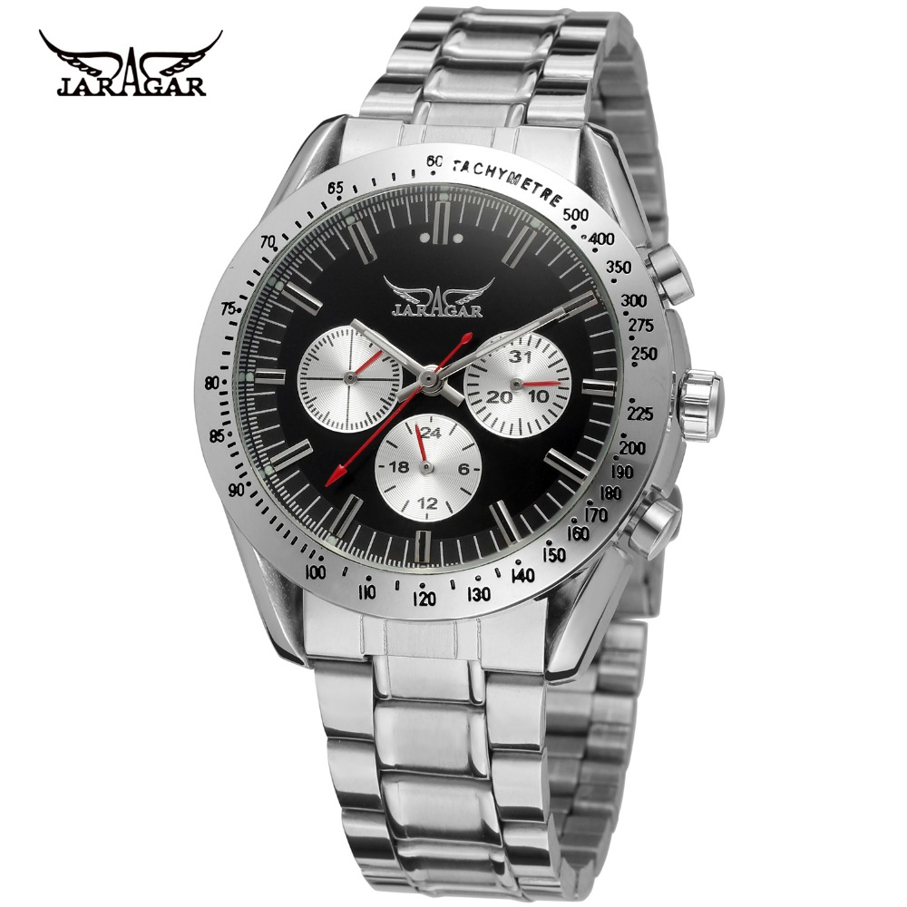 JARAGAR Men Brand Stainless Steel Tourbillion Automatic Mechanical Wristwatches Car Racing Style Watch Relogio Releges jaragar men luxury watch stainless steel tourbillion automatic mechanical wristwatch relogio releges