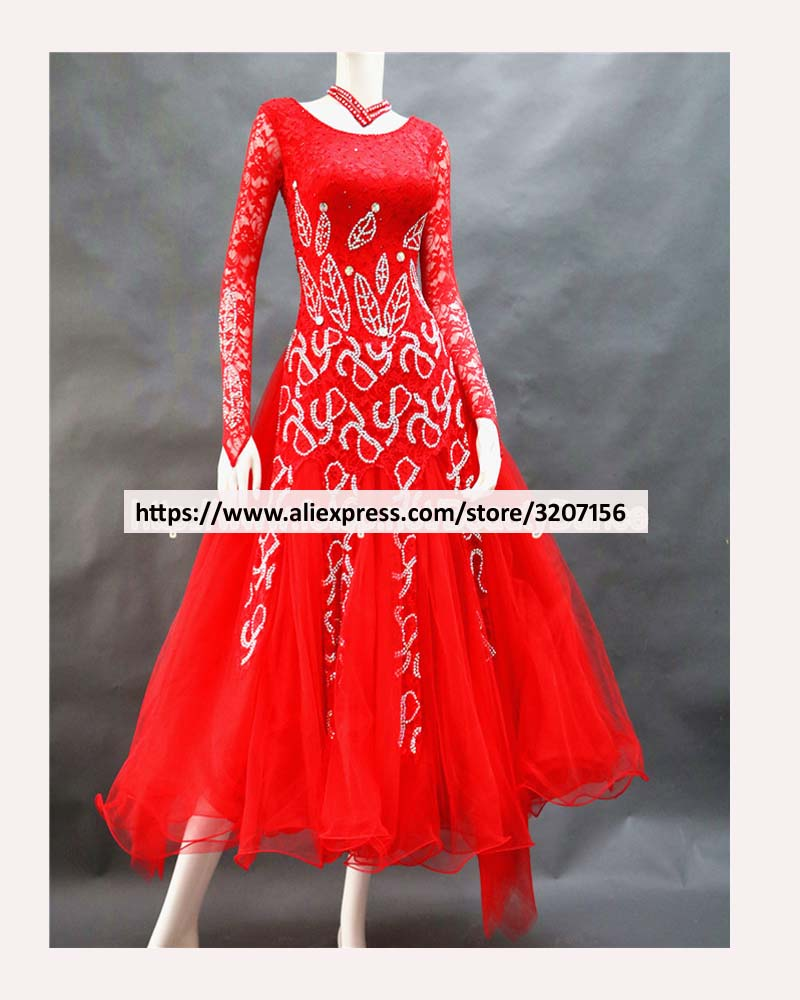 2017 NEW Red costume ballroom dance competition dresses