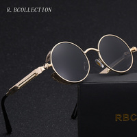 R BCOLLECTION Women S Retro Classic Punk Round Sunglasses Alloy Fram Sun Reflective UV400 Eyewear For
