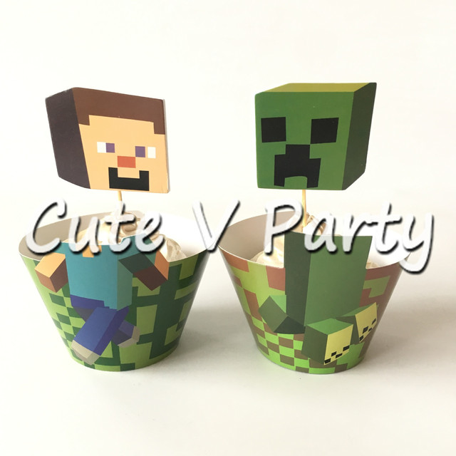 12 Sztukzestaw Minecraft Theme Cartoon Tort Topper Granicy Strona