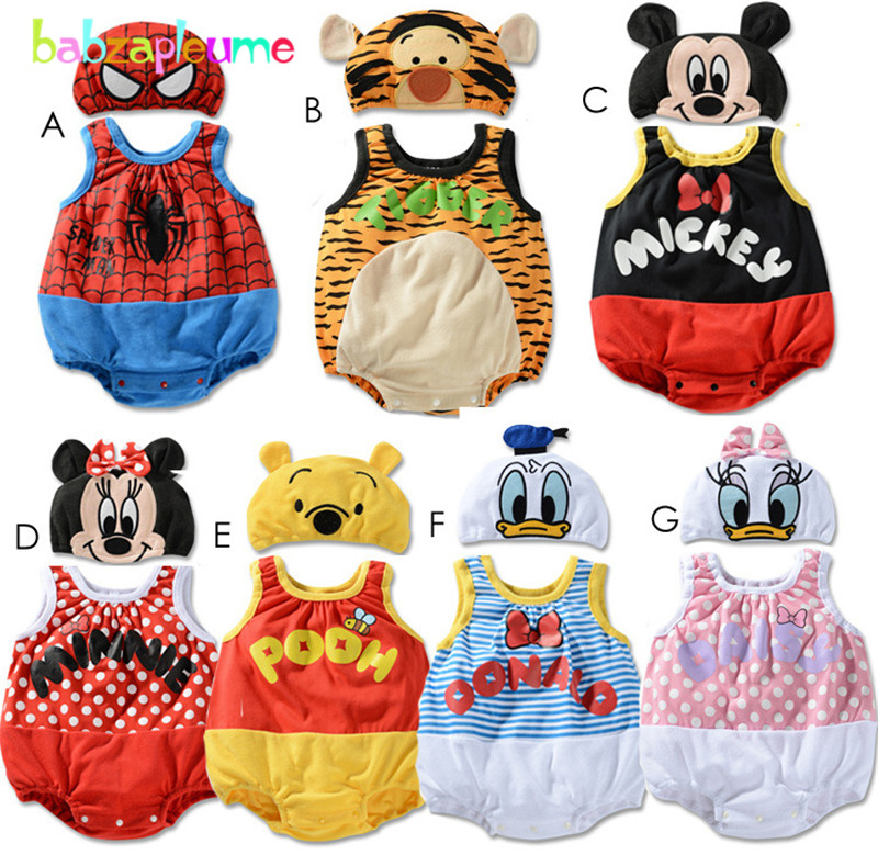 babzapleume Brand Baby Girls Rompers Cartoon Mouse Print font b Jumpsuit b font Hat Toddler Clothing
