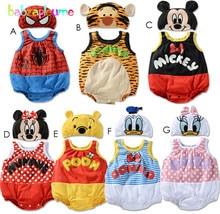 babzapleume Brand Baby Girls Rompers Cartoon Mouse Print Jumpsuit+Hat Toddler Clothing set Newborn Boy Clothes Underwear BC1195