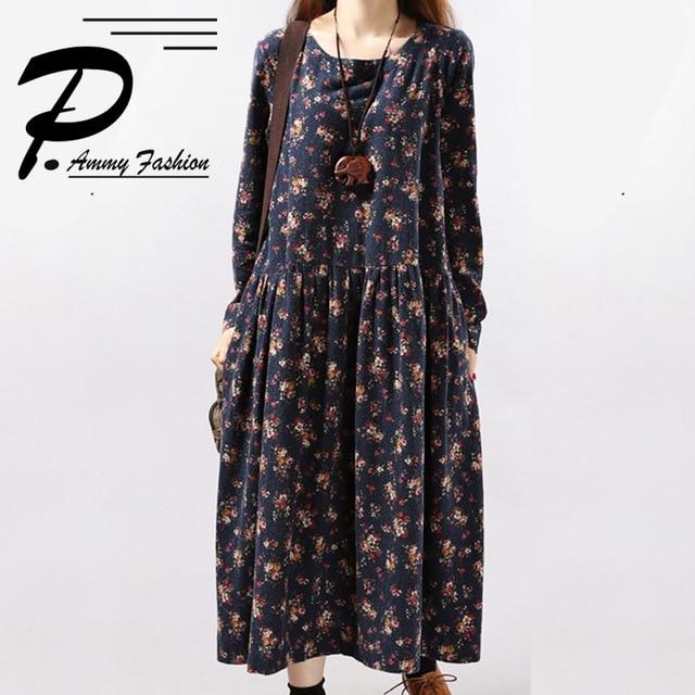 Women s Cotton   Linen Plus Size Retro Floral Print Mid-Long Dress lagenlook  Lady voguees Tunics c355208241cf