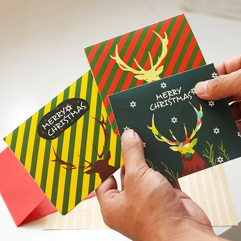 Calendars, Planners & Cards Business Cards 30 Pcs/pack Lovely Christmas Blessing Warm Christmas Eve Postcard Landscape Greeting Card Stationery Message Cards Gifts
