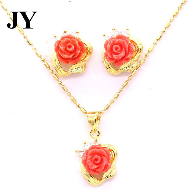 Jy cute gold color long necklace red rose coral pendants for women jy cute gold color long necklace red rose coral pendants for women special luxury best gift mozeypictures Image collections