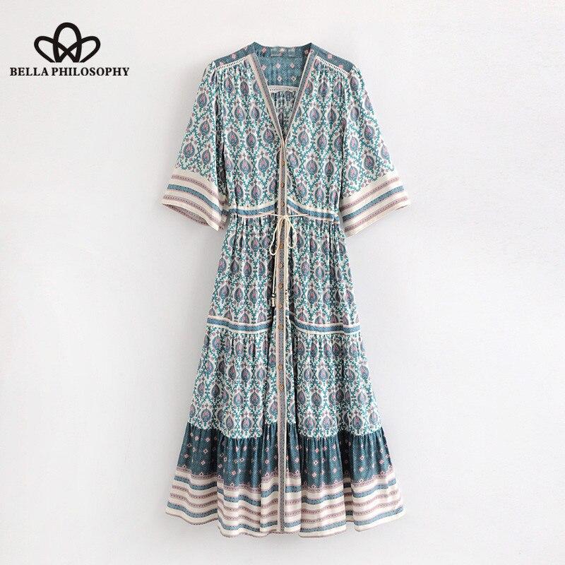Bella Phislosophy 2018 summer beach women dress v-neck sashes ladies vestidos drapped high waist
