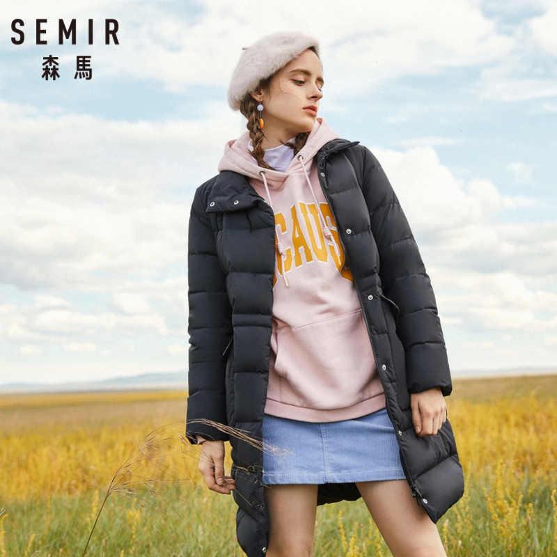 セミール女性ロングダウンスタンドカラーコートとスナップポケットとスナップ閉鎖ダウン充填フグコート絹のようなポリエステル裏地