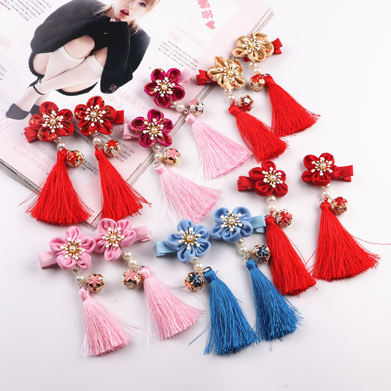 2pcs/lot Five petal flower fringed hair accessories wholesale antique wind hairpin duckbill clip folder