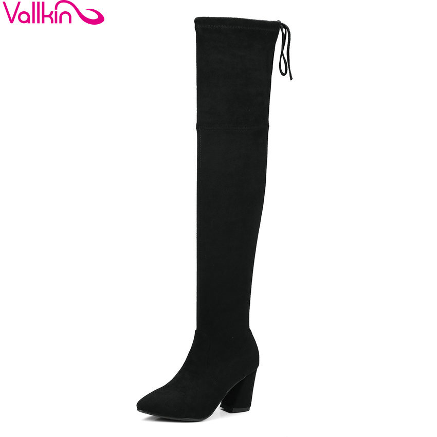 VALLKIN 2018 Women Boots Slim Look Square High Heel Over The Knee Boots Synthetic Pointed Toe Spring and Autumn Boots Size 34-39 цены онлайн