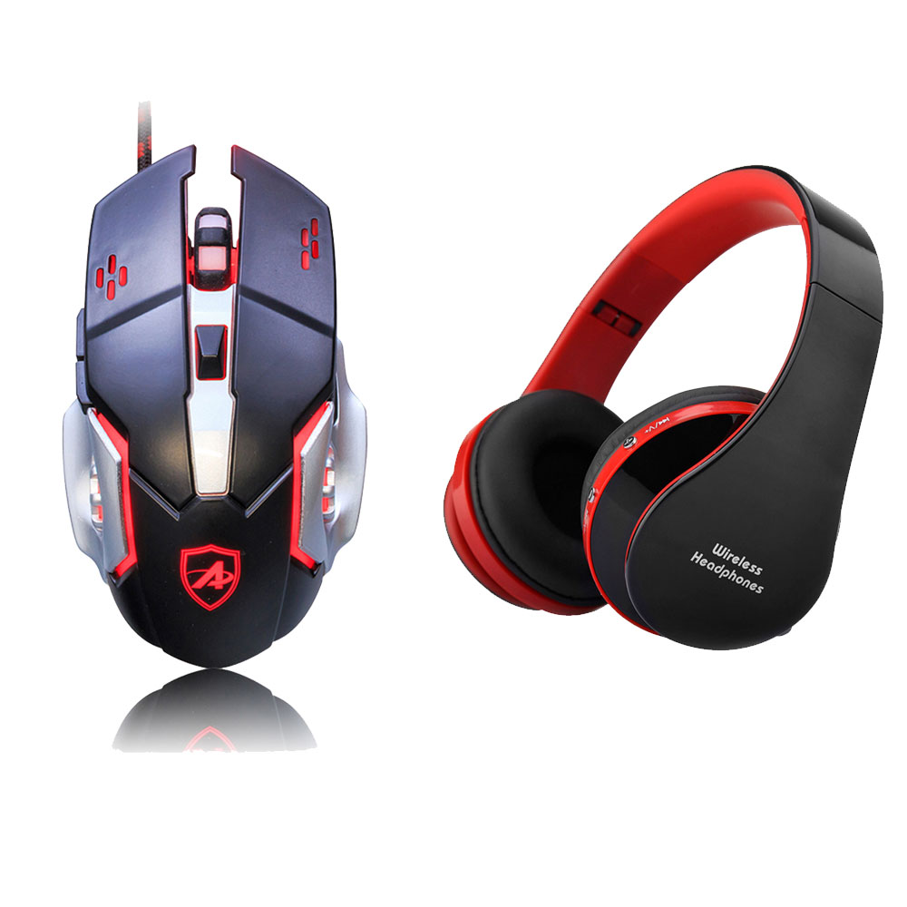 Gaming Laser Mouse USB Wired Gaming Mice 3200DPI DPI LED Light 6 Buttons+Foldable Wireless Bluetooth Headphones Wired Headsets