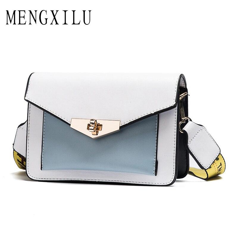 MENGXILU Fashion Small Bags Letter Strap Ladies Shoulder Bags Crossbody Bag Women Famous Brands Designers Sac a Main Femme 2018