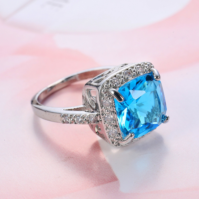 MFNFYH Large Sky Blue Zircon Crystal Stone Engagement Ring
