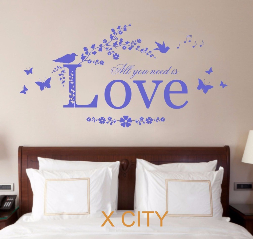Bedroom wall art quotes - All You Need Is Love Quote Vinyl Wall Decal Art Decor Sticker Bedroom Stencil Mural S M L