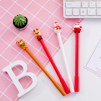 20 pcs Christmas gift pen cap Bear Christmas neutral pen 0.5 black student neutral pen stationery 1