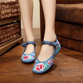 Hot Fashion Women's Shoes Chinese Style Casual Flats Women Soft Sole Flower Embroiderd Walking Cloth Shoes Plus Size 41