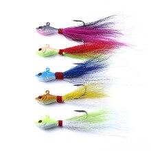 5Pcs/lot 3D Eye Fish Head Hooks Lead Jig 25g 7cm Barbed Hard Lure Feather Jigging Hook Fishing Fishhook