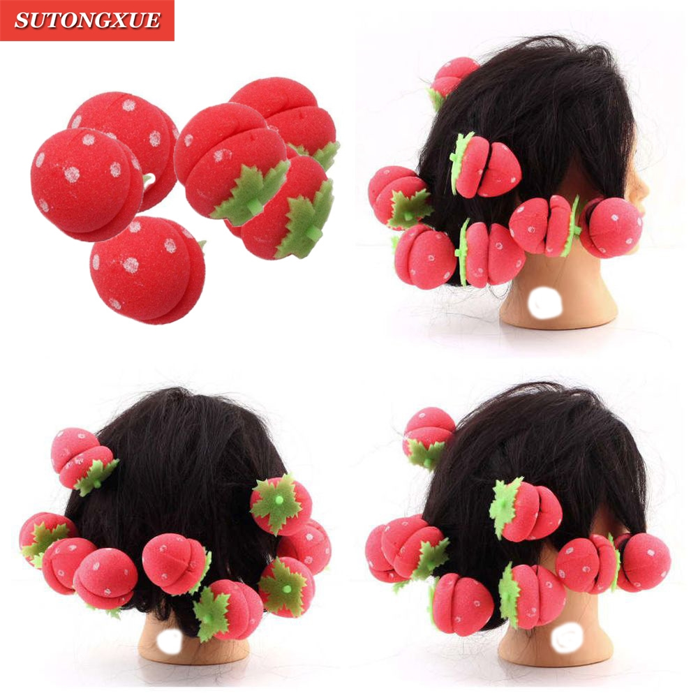 12pcs Girls Strawberry Brand Soft Foam Anion Bendy Hair Tool Hair Rollers Curlers Cling DIY Hair Curlers Hot Hair Styling Tools fashion women bun maker hair accessories hairstyle dish twist donuts bud head ball ladies sweet girls hair rollers diy tool hb88