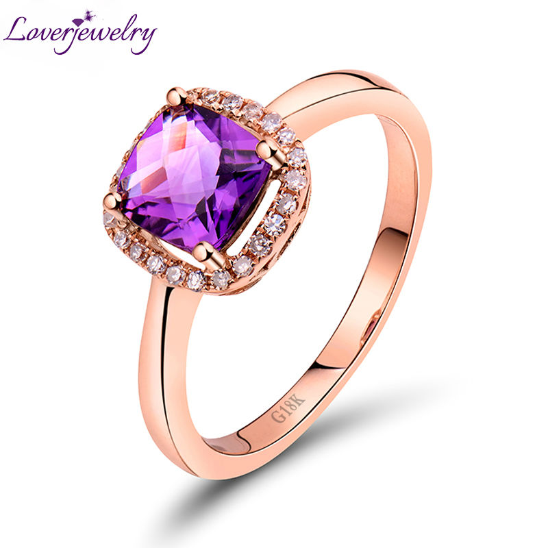 Christmas NEW Cushion 6x6mm 18Kt Rose Gold Diamond Purple Amethyst Engagement Wedding Ring for Women SR0333Christmas NEW Cushion 6x6mm 18Kt Rose Gold Diamond Purple Amethyst Engagement Wedding Ring for Women SR0333