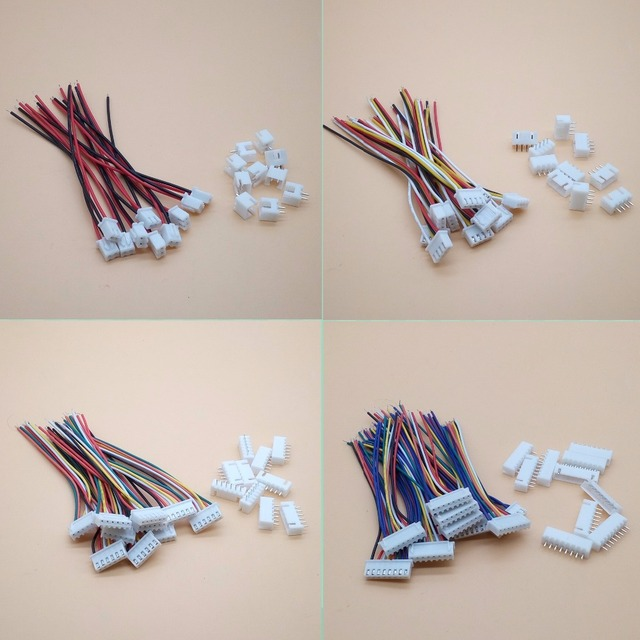 10sets XH 2.54mm Pitch 2p 3p 4p 5P 6P 7P 8P 10P Terminal / Housing / Pin Header Connectors with 10cm Wire 2.54mm
